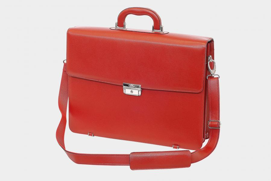 Double bellow legal briefcase with adjustable shoulder strap