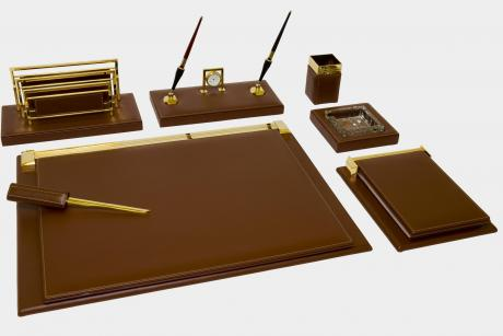 "7-pcs desk set in ""Full Grain"" leather"