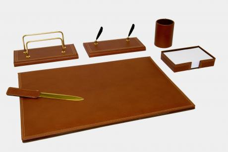 "6-pcs desk set in ""Gemini"" leather"